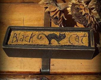 E Pattern Black Cat Punch Needle on Wood Box