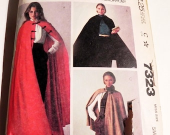 "Cape Maxi Hood Hip length ankle vintage sewing pattern McCalls 7323 Size Small 10 12 Bust 32.5 34"" 1980s"