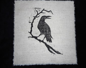 Lino block Raven on Linen/Cotton blend fabric.