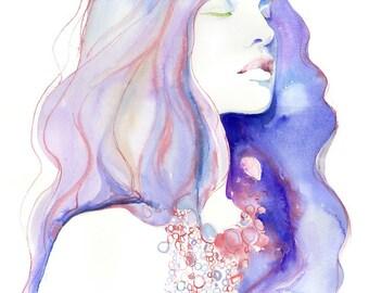 Yoga Pose Print, Meditation Art, Fashion Watercolor Illustration, Watercolor Painting, Yoga Portait, Pastel Blue watercolor, Yoga Wall Art