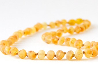 "Authentic Raw Unpolished Baltic Amber Infant/Children/Adult Jewelry - Necklace, Bracelet & Anklet - Lemonade/Light, sizes 7""-24"""