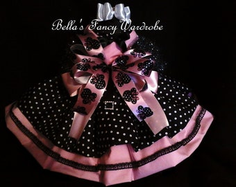 Princess Minnie Mouse, Pink Dog dress, Fancy Dog Dress, Couture Dog Dress, Black Dog Dress