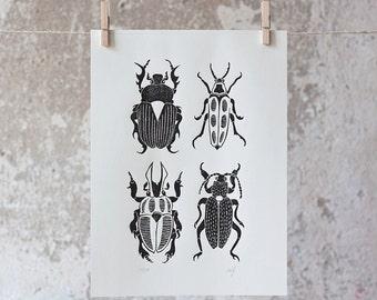 The Beetle   Linocut Print