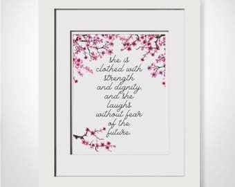 Cherry Blossom Nursery, She Is Clothed With Strength And Dignity, Proverbs 31, Nursery Bible Verse, Mothers Day Gift, Cherry Blossom Tree