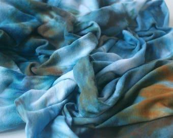 Infinity Scarf : Hand Dyed Circle Scarf (Regatta) Cotton Jersey