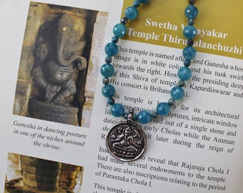 Ganesha 925 pendant gemstone necklace - blue necklace - healing get well gift - spiritual jewelry - unique