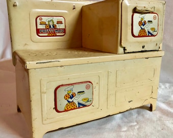 Vintage 1940's Marx Toys Pretty Maid Tin Stove