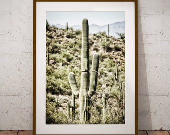 Cactus Art Print, Tucson Desert, Arizona Landscape, Bohemian, Home Decor, Tropical Vista, Saguaro Cacti, Mountains, Horizon, Wilderness,