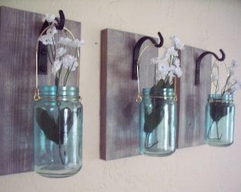 Turquoise jars on wood wall decor (3),  kitchen decor, country decor, wedding gift, rustic decor, housewarming gift.