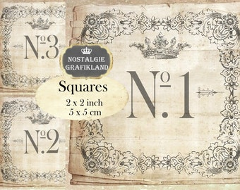 Vintage Numbers 2x2 inch squares Instant Download digital collage sheet TW161