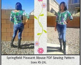 Ladies Raglan Blouse - Sizes XS, S, M, L, XL, 2XL - Long Sleeve, Short Sleeve, Downloadable PDF Sewing Pattern, Yoke Band, Shirt, Plus Size