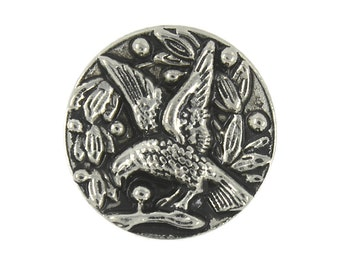 Metal Buttons - Bird in Flowers Retro Silver Metal Shank Buttons - 16mm - 5/8 inch - 6 pcs