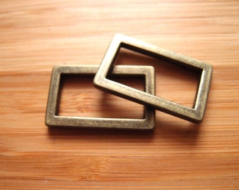 One inch (25mm) Flat Rectangle Rings in Silver Nickel/Antique Brass Bag and Strap Hardware BOMC March 2016