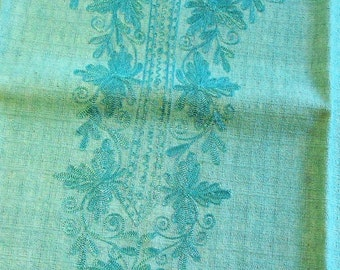 "Thai Raw Sillk, Embroidered Fabric - Vintage - 48"" Square"