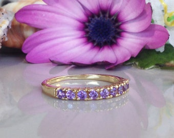 20% off- SALE!! Amethyst Ring - Half Eternity Ring - Gemstone Ring - Gold Ring - Stackable Ring - Dainty Ring -  February Birthstone