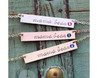 Mama Bear Necklace • Mommy Gift Mom Necklace Mother's Day Necklace • Birthstone Mommy Gift Mother Mama Bear Gift • BS_18