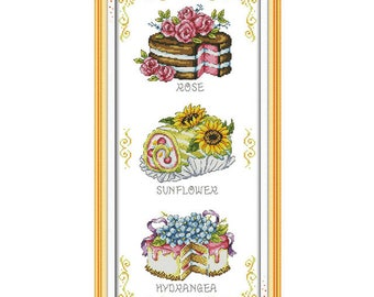 Dessert Cake Cartoon Painting Counted Cross Stitch 11CT Printed 14CT Cross-Stitch Kit Handmade Home Decor Embroidery Needlework