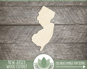 New Jersey, Unfinished Wood New Jersey Laser Cut Shape, DIY Craft Supply, Many Size Options, Blank Wood Shapes