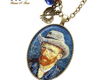 Necklace * Vincent Van Gogh * bronze portrait painting Midnight Blue cabochon
