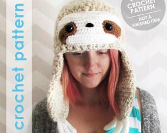 crochet pattern, crochet hat, crochet hat pattern, sloth hat, winter hat, funny animal hat, crochet sloth, sloth gift, amigurumi sloth