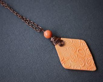 Orange Swirl Necklace, Copper Wire Wrapped Necklace, Polymer Clay Necklace, Orange Necklace, Jade Necklace, Boho Necklace