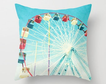Ferris Wheel Throw Pillow with Insert // Fun Nursery or Kids Room Decor // Throw Pillow featuring my Red White and Blue Ferris Wheel Print