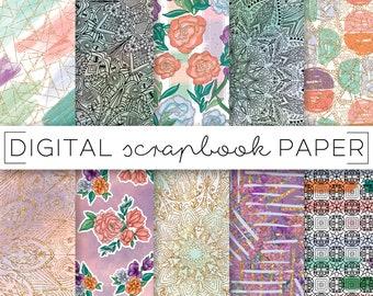 Colorful Mandala Print Abstract Pattern Digital Scrapbook Paper Watercolor Geometric Hand Drawn Boho Floral Textile Surface Art Background