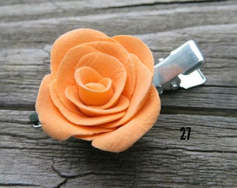 Orange rose hair clip