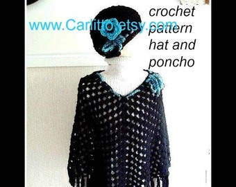 Crochet Pattern hat and shawl, num 97. one size fits all... by Carlitto on Etsy, instant download