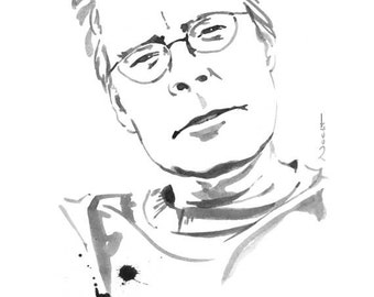 Stephen King - poster print - Writer - ink drawing - Famous writers series (Spanish and english quotes)