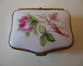 Limoges Trinket Box Vintage French Pill Box Stash Box Roses