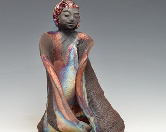 Standing Kwan Yin Goddess Kannon Statue in Shimmering and Earthy Raku Robe