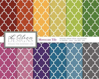 Rainbow Moroccan Tile Paper Pack - 12 digital paper patterns - INSTANT DOWNLOAD