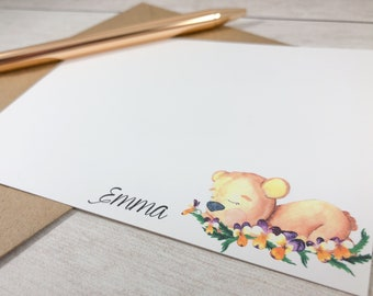 PERSONALIZED Flat Note Card Set - Sleepy Teddy Bear / Greeting Card / Just A Note / Gift / A2 Size / Shy / Floral / Animal / Baby shower