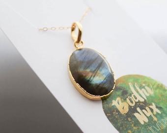 oval labradorite necklace | bohemian jewelry | gemstone necklace | gemstone jewelry | gift for her | bohemian jewelry | boho | electroplated