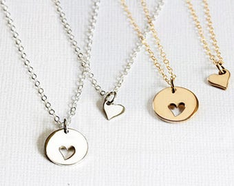 Sterling silver Mothers Daughters Necklace set, Heart Mothers necklace Daughter, Gift for mom, Gift for daughter, Mothers day gift
