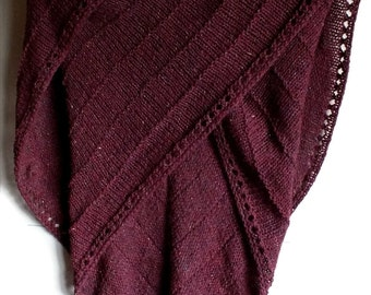 Large Tawny Red Hand Knit Rustic Shawl