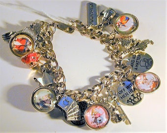 Alice in Wonderland Inspired Sterling Charm Bracelet  OOAK
