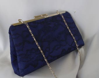 Navy blue gray silver lace wedding evening summer clutch BBsCustomClutches