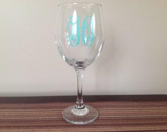 Wine Glass with Vine Monogram