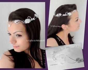 """Silver """"Avalon"""" elven tiara with flowers, wedding tiara"""