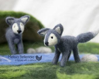 Waldorf Inspired Needle Felted Woodland Wolf Cub
