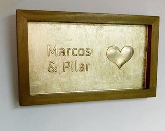 Personalized Gold Wedding Frame