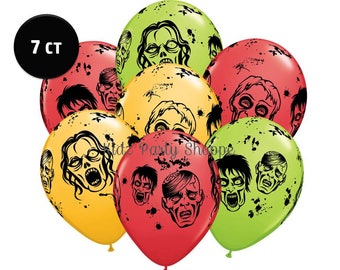 """Zombie Balloons [7ct] 11"""" Latex Halloween Birthday Party Decorations Supplies Decor Centerpiece Photo Prop Supply"""