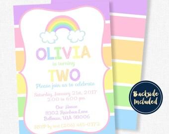 Rainbow Birthday Invitation, Pastel Rainbow Invitation, Rainbow Party Invite, Girl Birthday Invitation, Stripes