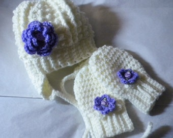 Crocheted Baby Irish Knit Hat w Lavender Flower.matching Crochet Mittens 18 24 mo
