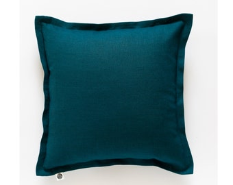 Teal throw pillow cover from linen - blue cushion case - custom size with 1 inch flange - invisible zipper closure  0159