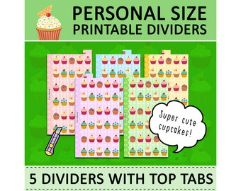 PRINTABLE Personal Size Cute Kawaii Cupcakes DIY Dividers 5 Top Tabs for Filofax Organizer Planner Instant Download