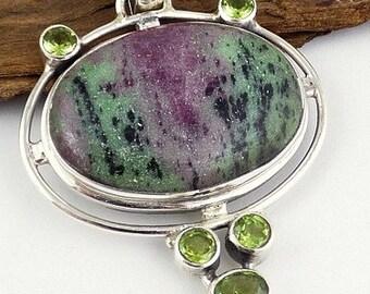 JEWEL Ruby zoizite pendant Ruby zoizite, jewelry, healing stone reiki Crystal healing balancing F88 heart chakra