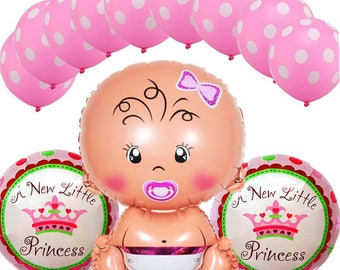 13 pcs/Set Baby Shower Balloon Girl or Boy /A new Little Princess/A new Little Prince /Party Decorations
